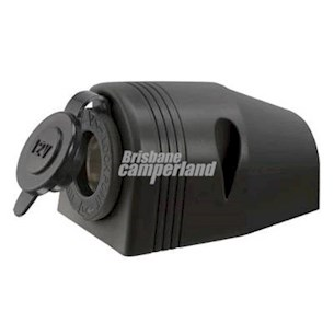 12V SURFACE MOUNT ACCESSORY SOCKET - BLACK