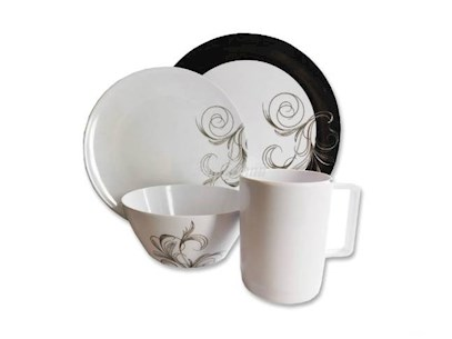 MELAMINE DINNER SET-FRENCH SWIRL 16 PIECE